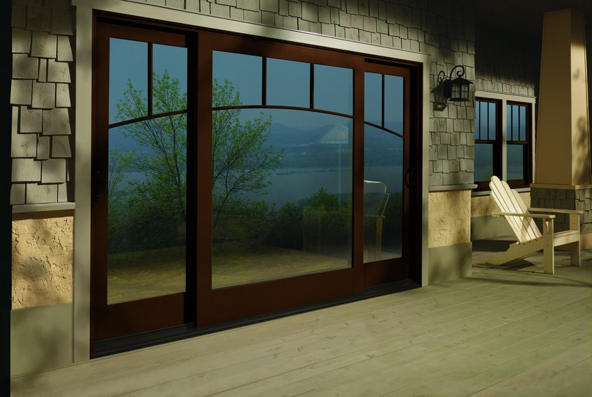 ndersen cocoa bean vinylclad oversized sliding patio door - Exterior Patio Doors